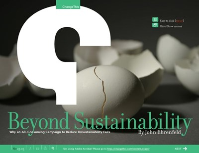 Beyond Sustainability: Why an All-Consuming Campaign to Reduce Unsustainability Fails