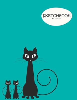 Sketchbook: Character cute cat sitting blue cover (8.5 x 11) inches 110 pages, Blank Unlined Paper for Sketching, Drawing, Whiting