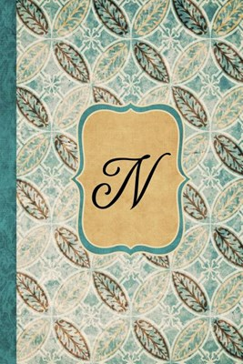 N: Beautiful Monogram Journal N, Vintage Pattern Style with lined pages