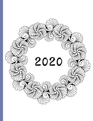 Spiral Wreath Black and White: 2020 Schedule Planner and Organizer / Weekly Calendar