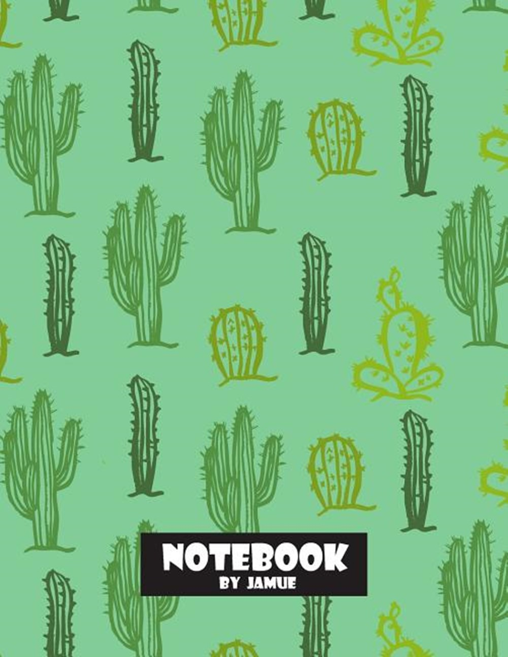 Notebook Cactus seamless green cover and Lined pages, Extra large (8.5 x 11) inches, 110 pages, Whit