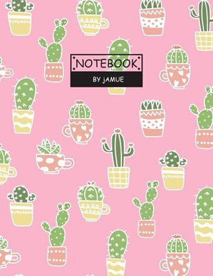 Notebook: Cute cactus in pot pink cover and Lined pages, Extra large (8.5 x 11) inches, 110 pages, White paper