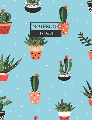 Notebook: Seamless pattern with cactus blue cover and Lined pages, Extra large (8.5 x 11) inches, 110 pages, White paper