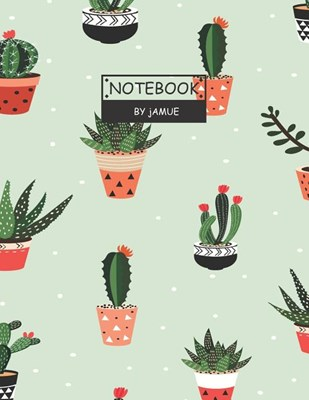 Notebook: Seamless pattern with cactus green cover and Lined pages, Extra large (8.5 x 11) inches, 110 pages, White paper