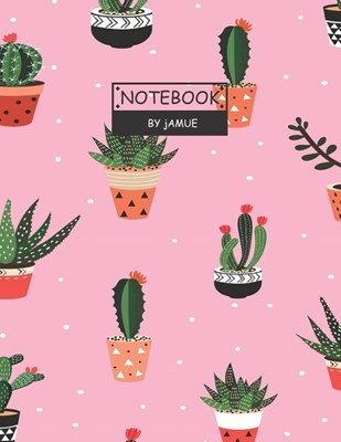 Notebook: Seamless pattern with cactus pink cover and Lined pages, Extra large (8.5 x 11) inches, 110 pages, White paper