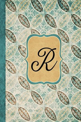 R: Beautiful Monogram Journal R, Vintage Pattern Style with lined pages