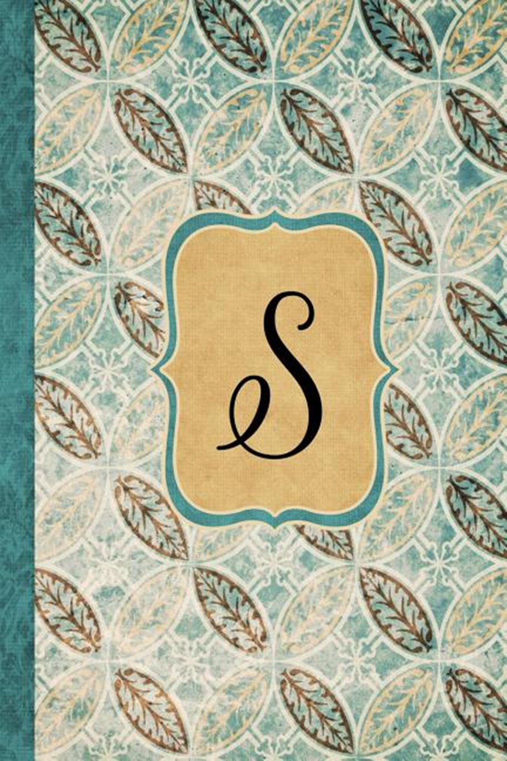 S Beautiful Monogram Journal S, Vintage Pattern Style with lined pages