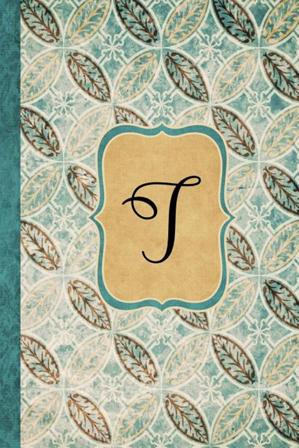 T Beautiful Monogram Journal T, Vintage Pattern Style with lined pages