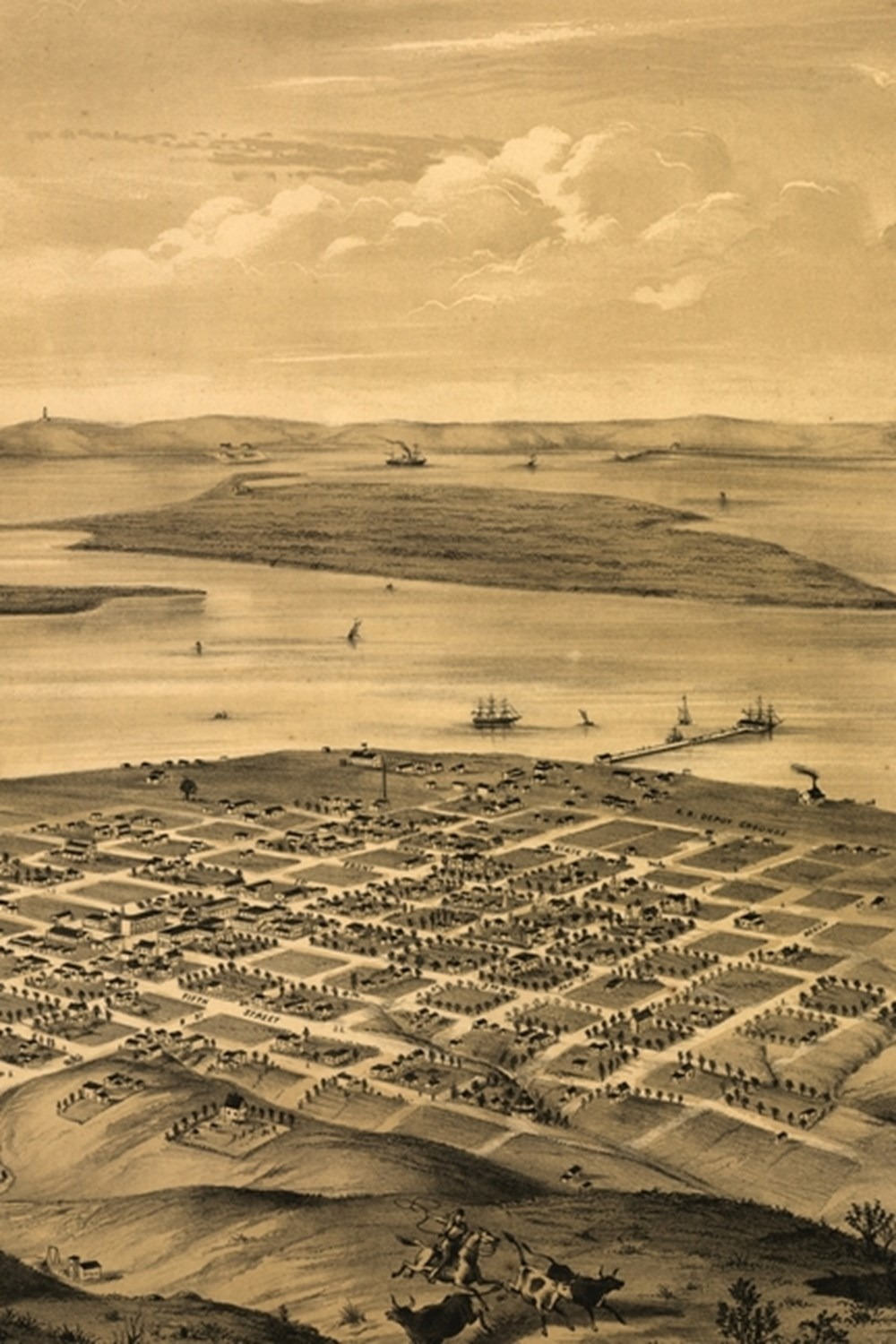 19th Century Bird's Eye View Map of San Diego, California - A Poetose Notebook / Journal / Diary (50