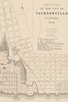 19th Century Map of the City of Jacksonville, Florida - A Poetose Notebook / Journal / Diary (50 pages/25 sheets)