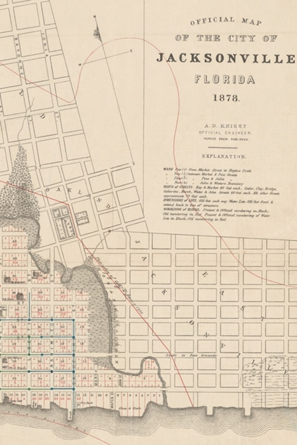 19th Century Map of the City of Jacksonville, Florida - A Poetose Notebook / Journal / Diary (50 pag