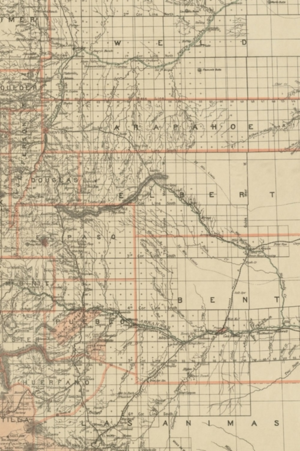 19th Century Map of the State of Colorado - A Poetose Notebook / Journal / Diary (50 pages/25 sheets