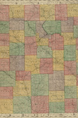 19th Century Map of Kansas - A Poetose Notebook / Journal / Diary (50 pages/25 sheets)