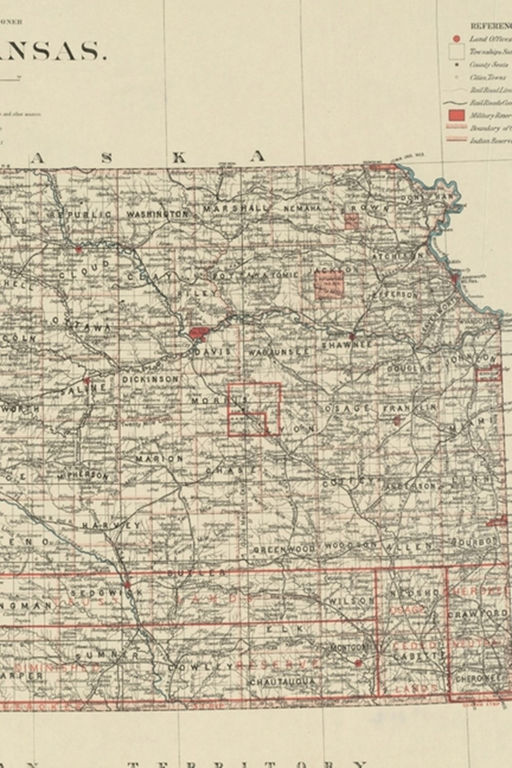 1884 Map of Kansas - A Poetose Notebook / Journal / Diary (50 pages/25 sheets)