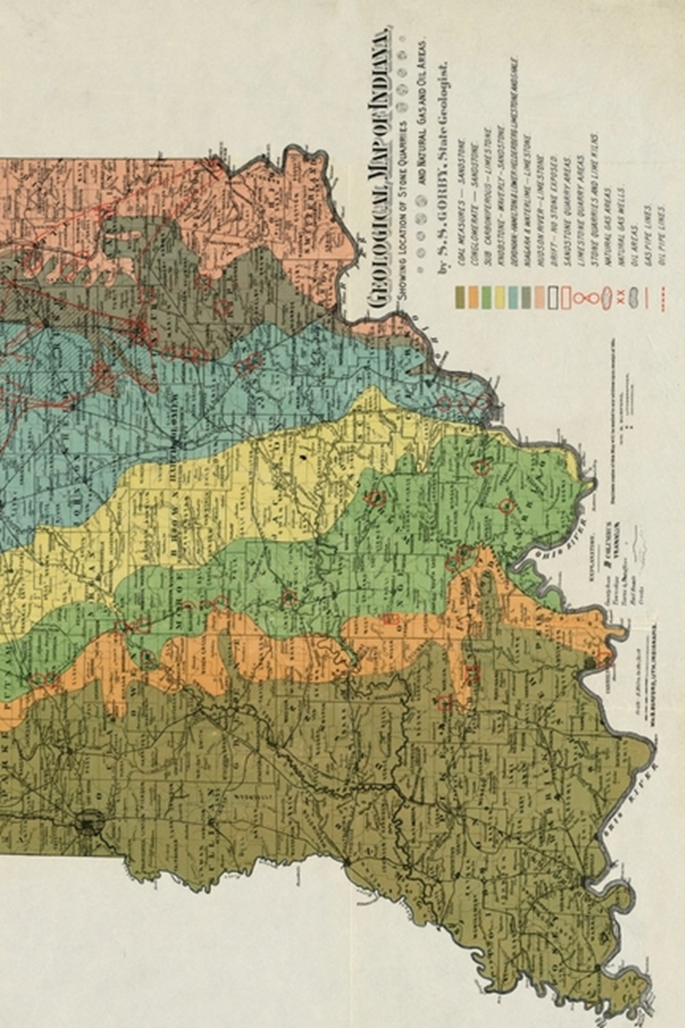 19th Century Geological Map of Indiana - a Poetose Notebook / Journal / Diary (50 Pages/25 Sheets)