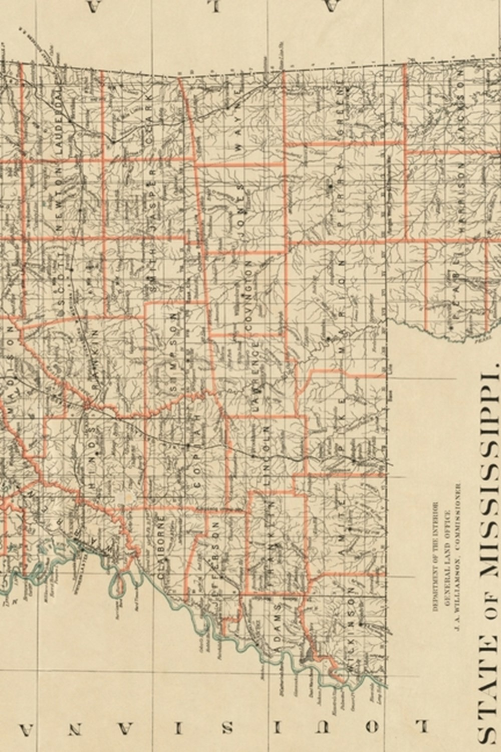 1878 Map of the State of Mississippi - A Poetose Notebook / Journal / Diary (50 pages/25 sheets)
