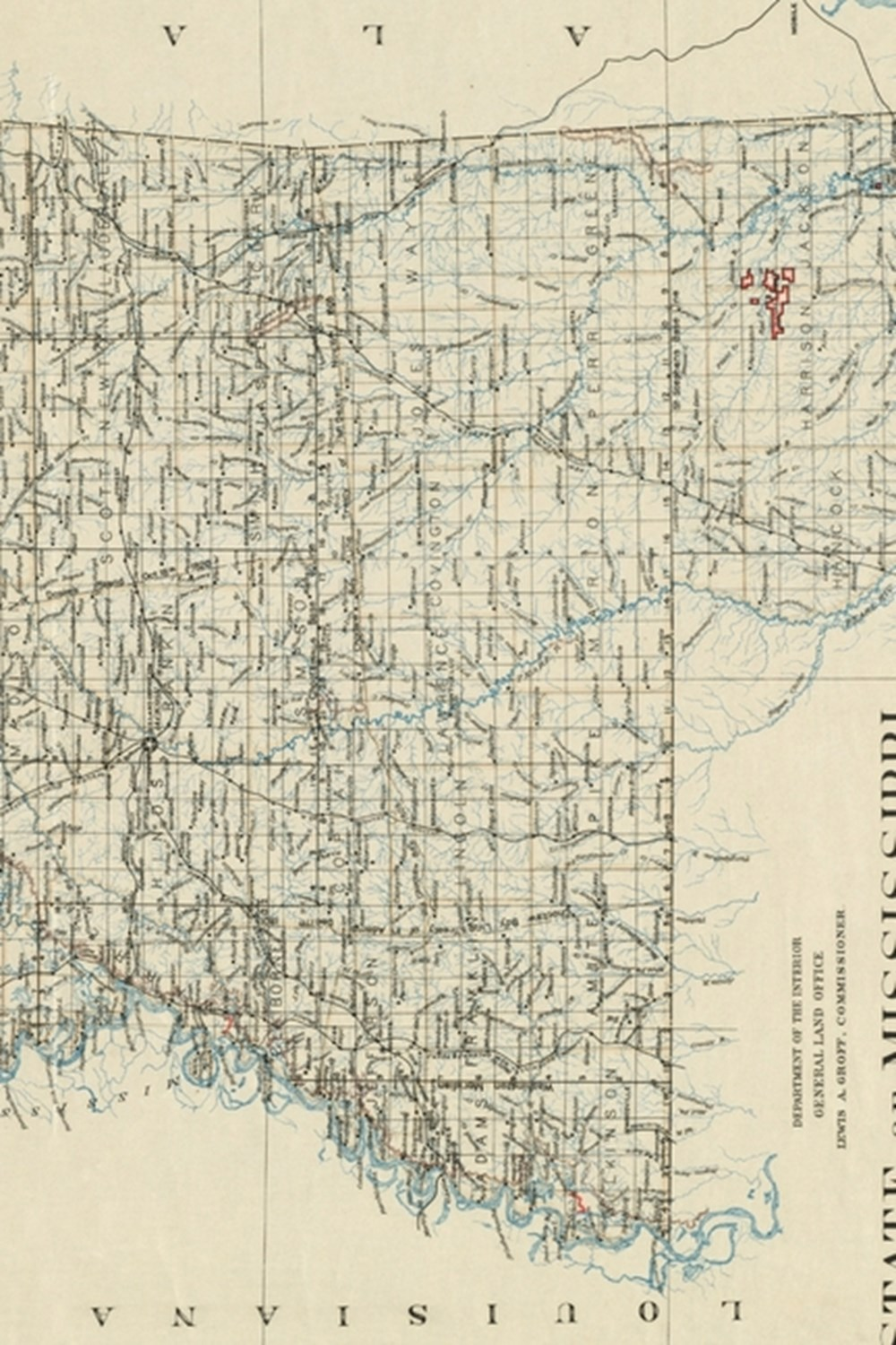 1890 Map of the State of Mississippi - A Poetose Notebook / Journal / Diary (50 pages/25 sheets)