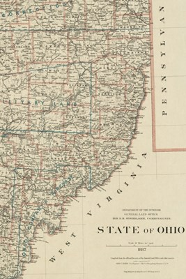 1887 Map of Ohio - a Poetose Notebook / Journal / Diary (50 Pages/25 Sheets)