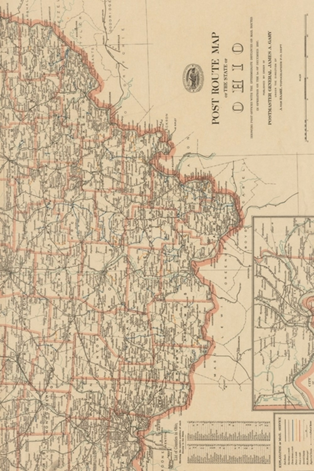 1897 Map of Post Route Map of Ohio State - a Poetose Notebook / Journal / Diary (50 Pages/25 Sheets)