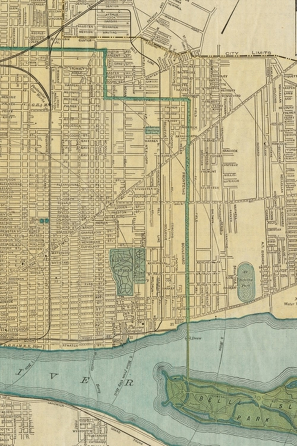 19th Century Map of Detroit, Michigan - a Poetose Notebook / Journal / Diary (50 Pages/25 Sheets)