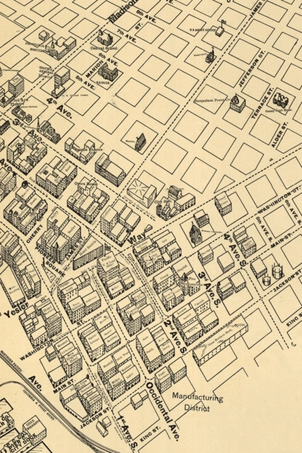 1903 Map of the Main Business District of Seattle, Washington - a Poetose Notebook / Journal / Diary