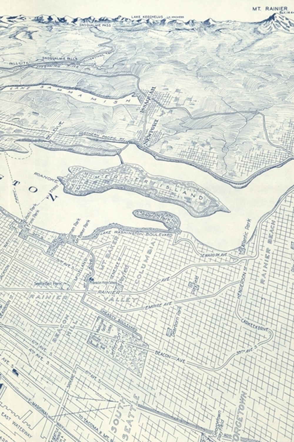 20th Century Bird's Eye View Map of Seattle, Washington - a Poetose Notebook / Journal / Diary (50 P