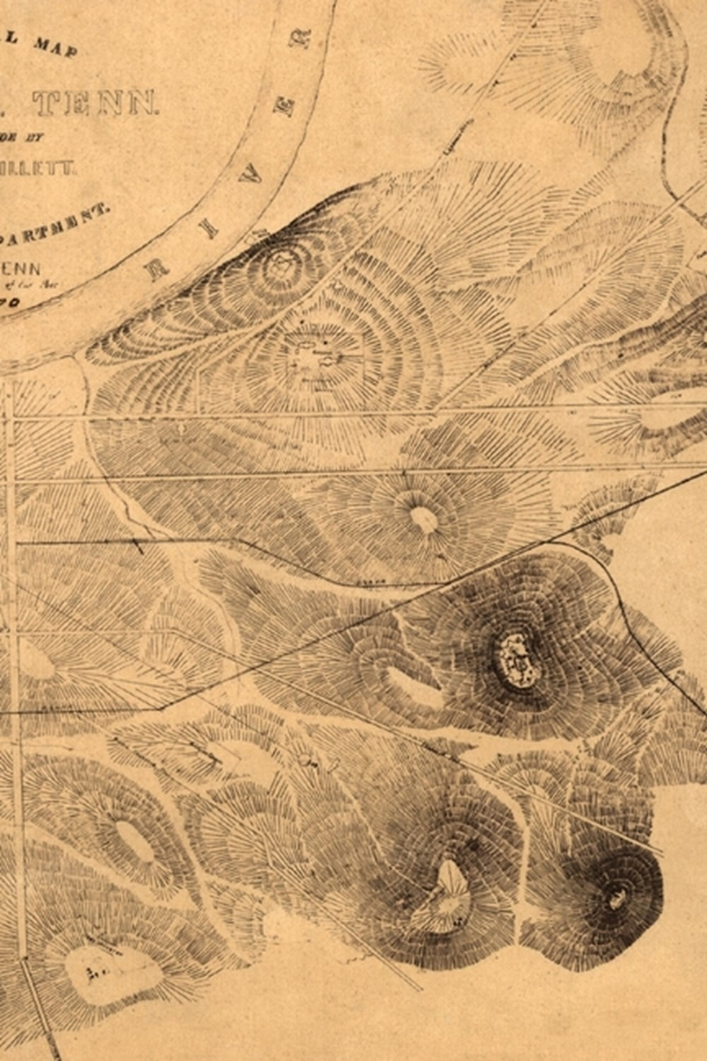 19th Century Topographical Map of Nashville, Tennessee - A Poetose Notebook / Journal / Diary (50 pa