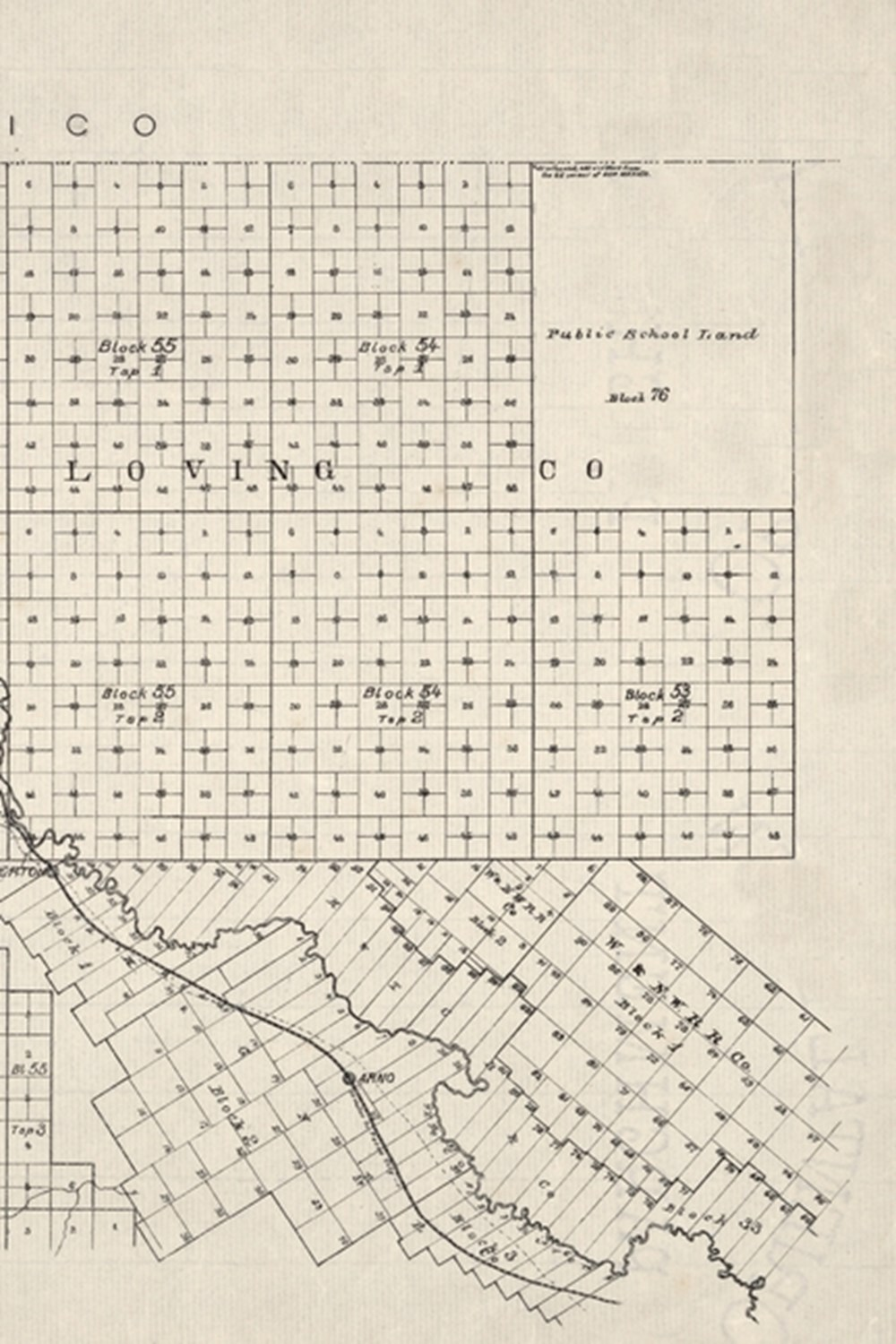 19th Century Map of El Paso County, Texas - a Poetose Notebook / Journal / Diary (50 Pages/25 Sheets