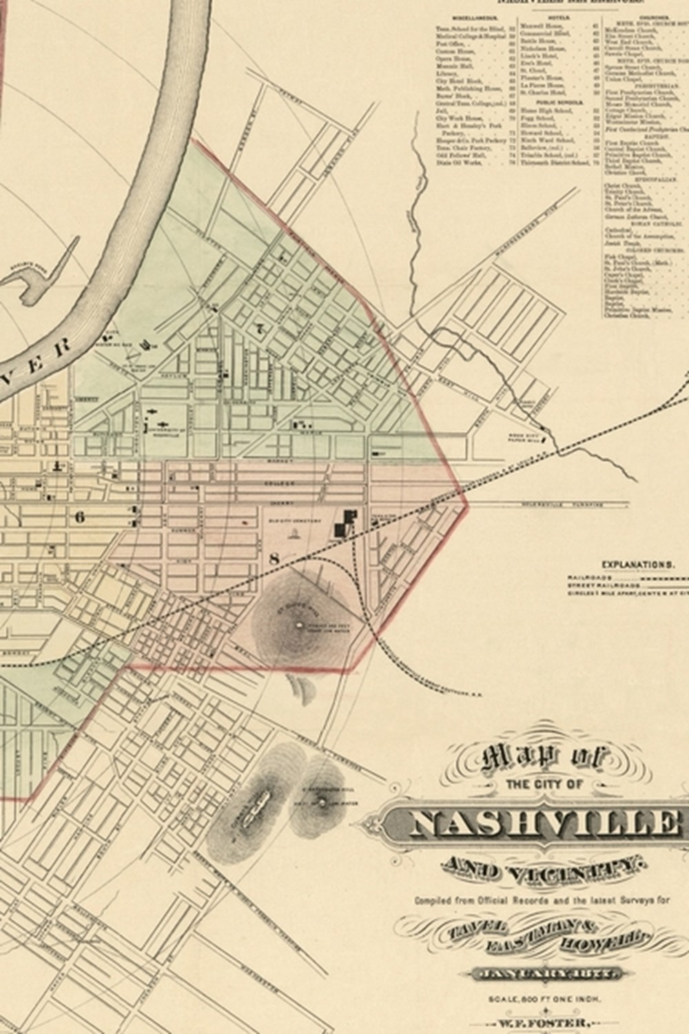 1877 Century Map of Nashville, Tennessee - A Poetose Notebook / Journal / Diary (50 pages/25 sheets)