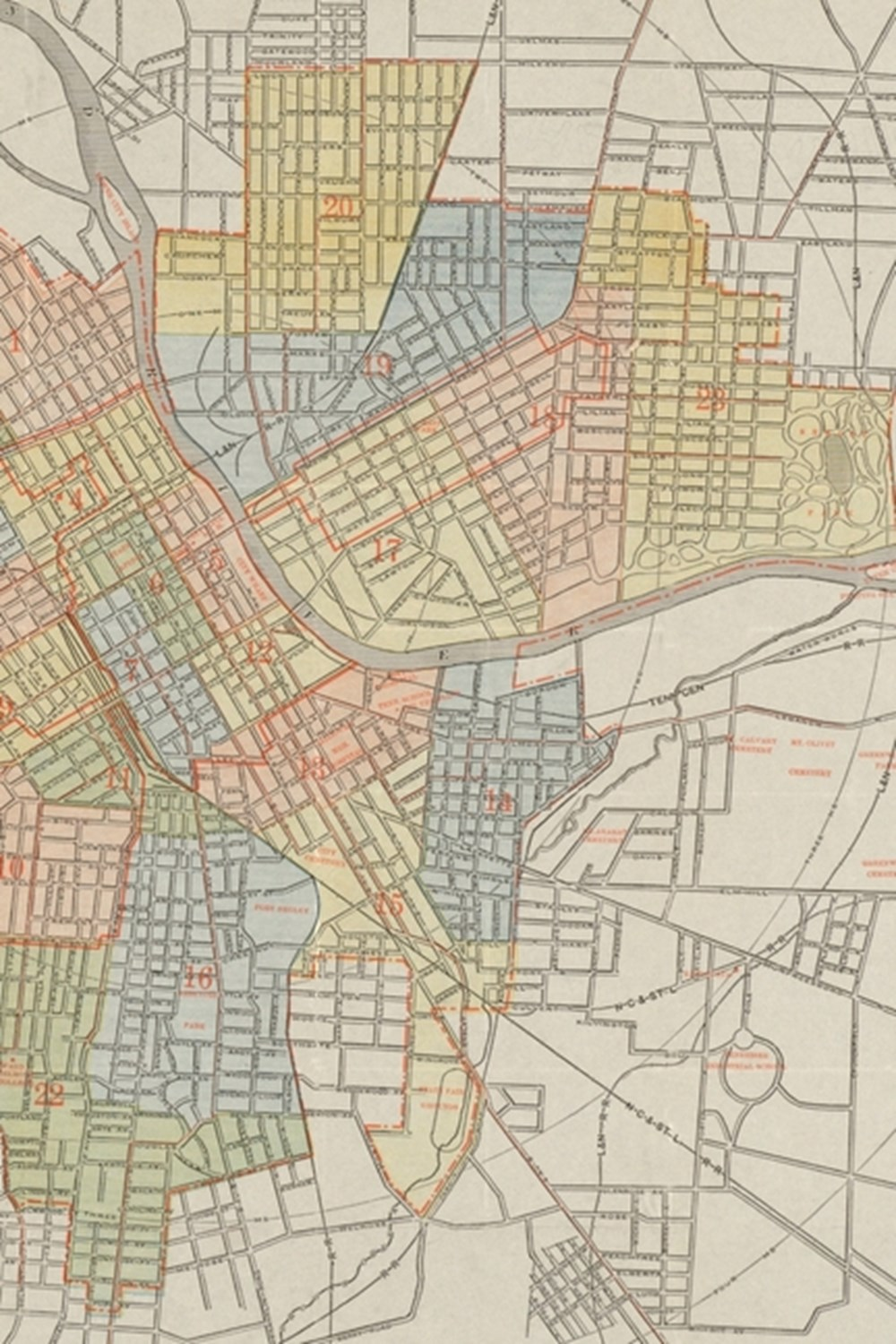 1920 Map of Nashville, Tennessee - a Poetose Notebook / Journal / Diary (50 Pages/25 Sheets)
