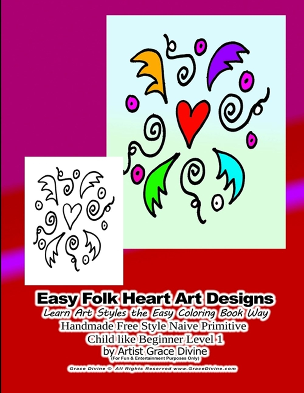 Easy Folk Heart Art Designs Learn Art Styles the Easy Coloring Book Way Handmade Free Style Naive Pr