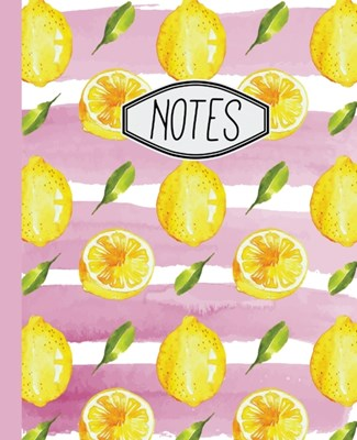 "Notes: Lemon Pattern with Pink Stripes 7.5"" X 9.25"" Wide Ruled 110 Pages"