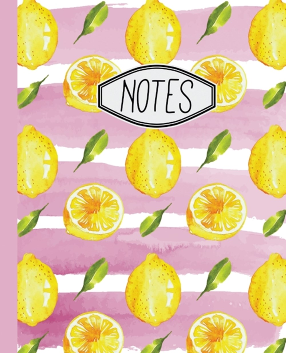 "Notes Lemon Pattern with Pink Stripes 7.5"" X 9.25"" Wide Ruled 110 Pages"
