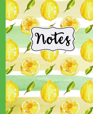 "Notes: Lemon Pattern on White and Ink Background 7.5"" X 9.25"" Wide Ruled 110 Pages"