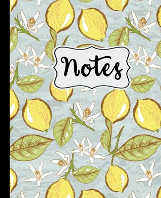 "Notes: Lemon Blossom Pattern 7.5"" X 9.25"" Wide Ruled 110 Pages"