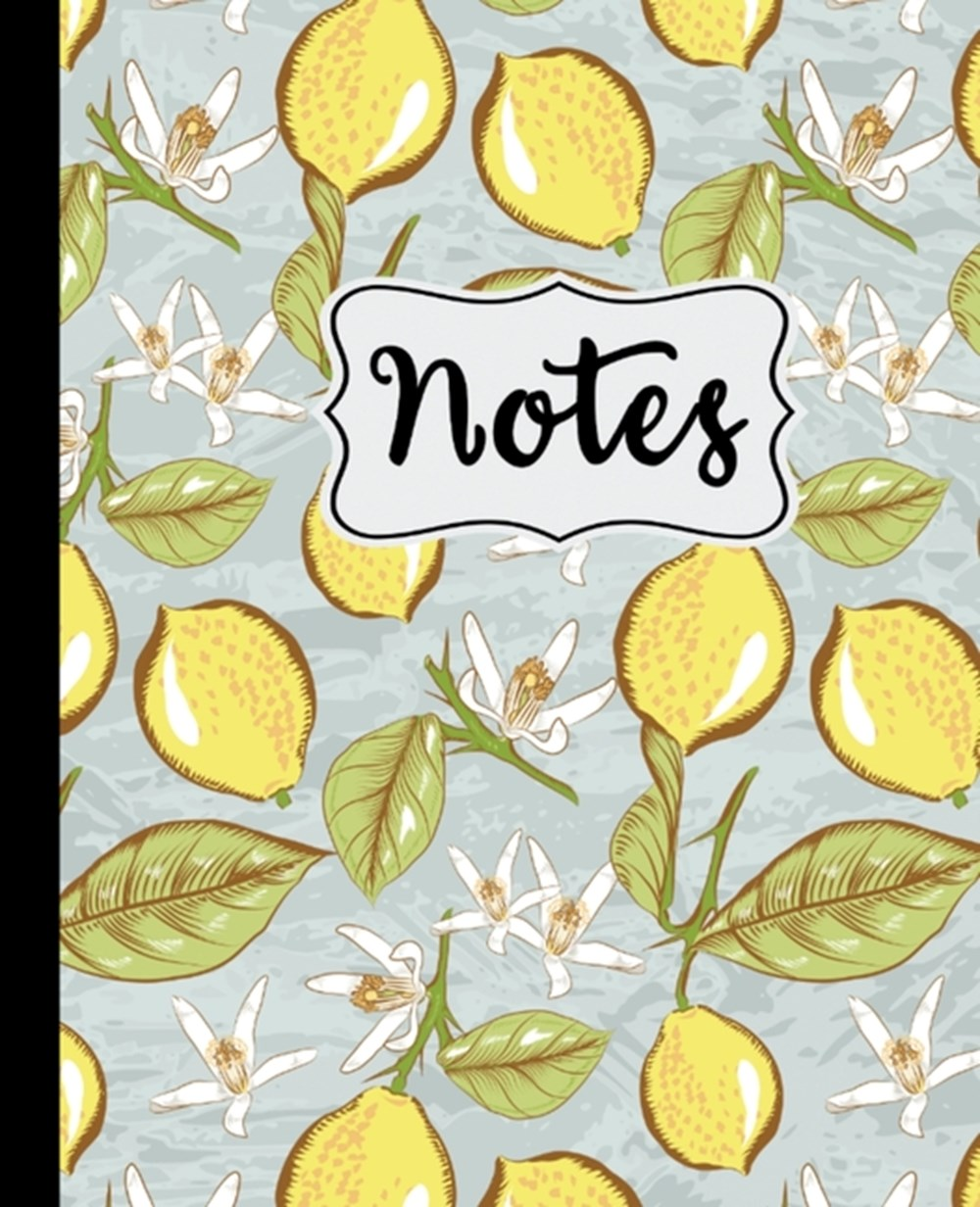 "Notes Lemon Blossom Pattern 7.5"" X 9.25"" Wide Ruled 110 Pages"