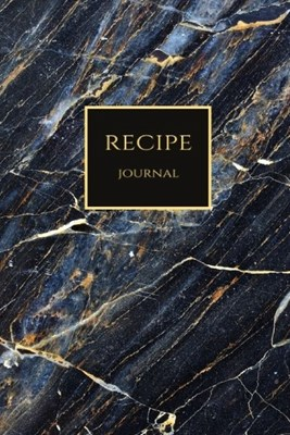 Recipe Journal: Dark Blue Gold Swirls Blank Recipe Journal Book to Write In Favorite Recipes and Notes. Cute Personalized Empty Cookbo