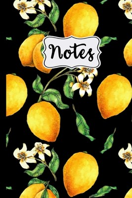 "Notes: Lemon Tree Pattern on Black Background 6"" X 9"" College Ruled 120 Pages"