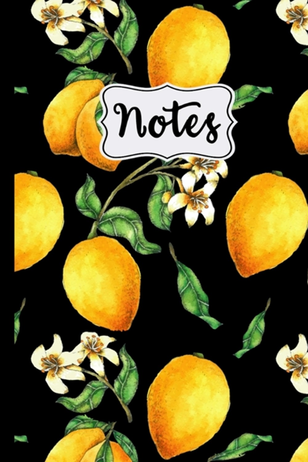 "Notes Lemon Tree Pattern on Black Background 6"" X 9"" College Ruled 120 Pages"