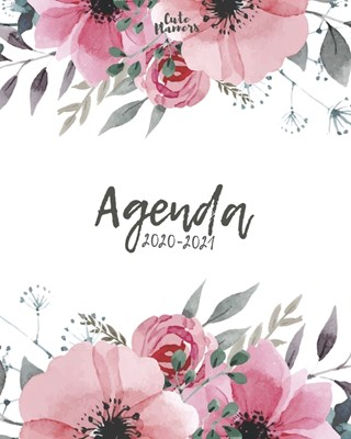 Agenda 2020 -2021: Cute Planners / Pretty floral Two Year Daily Weekly planner organizer ( Jan 2020 - Dec 2021 ) Agenda with Holidays, 24
