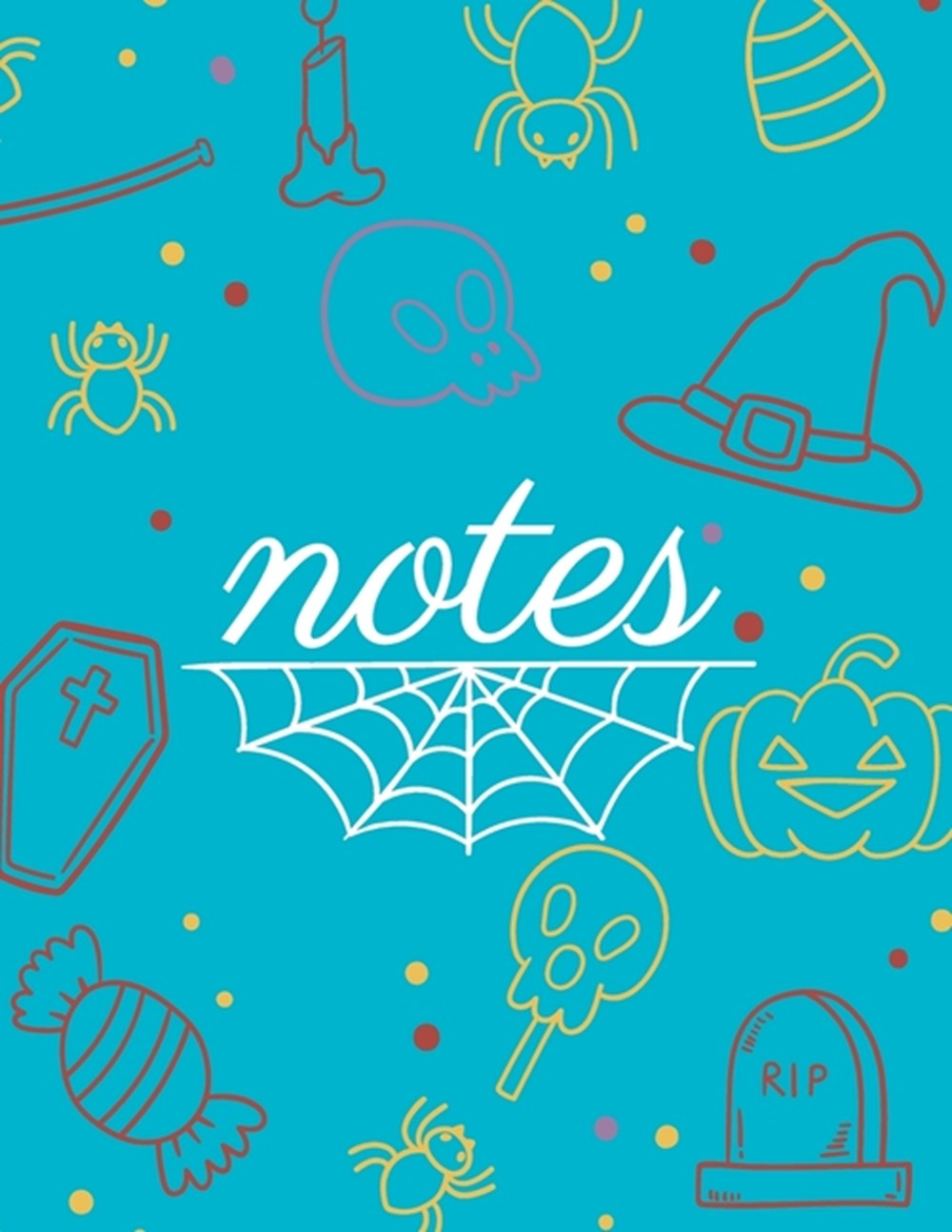 Note Party halloween blue cover and dotted pages, Extra large (8.5 x 11) inches, 110 pages, White pa