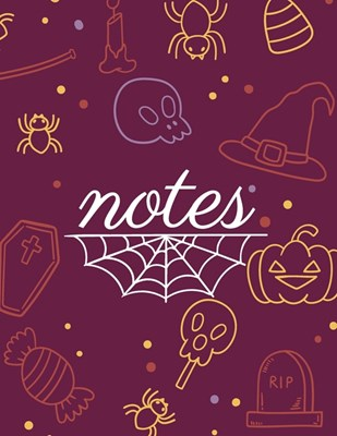 Note: Party halloween purple cover and dotted pages, Extra large (8.5 x 11) inches, 110 pages, White paper