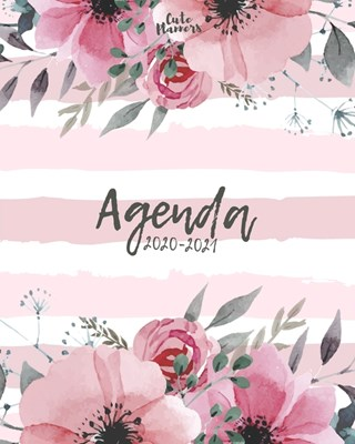 Agenda 2020-2021: Agenda 2020 -2021: Cute Planners / Pretty White & pink floral Two Year Daily Weekly planner organizer ( Jan 2020 - Dec