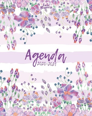 Agenda 2020-2021: Agenda 2020 -2021: Cute Planners / Pretty White & violet floral Two Year Daily Weekly planner organizer ( Jan 2020 - D