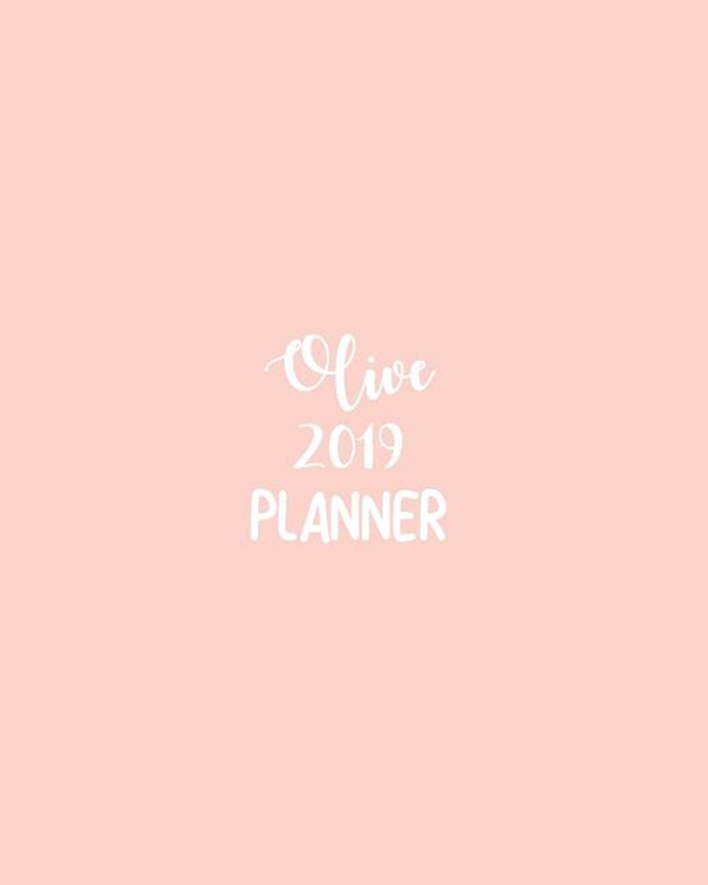 Olive 2019 Planner Calendar with Daily Task Checklist, Organizer, Journal Notebook and Initial Name