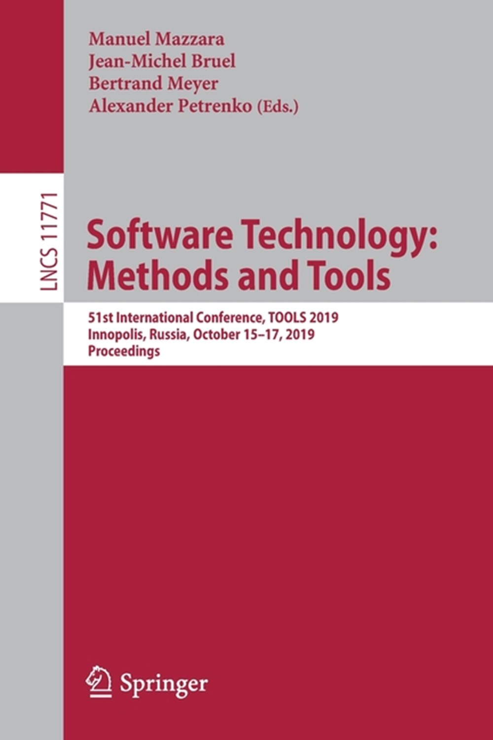 Software Technology Methods and Tools: 51st International Conference, Tools 2019, Innopolis, Russia,