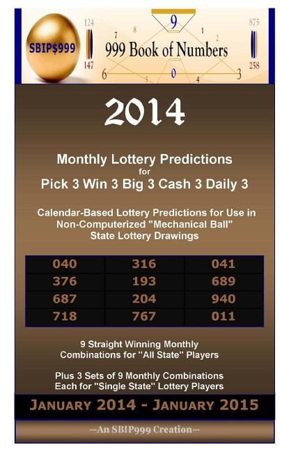 "2014 Monthly Lottery Predictions for Pick 3 Win 3 Big 3 Cash 3 Daily 3: Calendar-Based Lottery Predictions for Use in Non-Computerized ""mechanical Bal"
